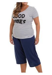 Pijama Capri Listrada Doce Luar (5023N) Plus Size - 100% Algodão