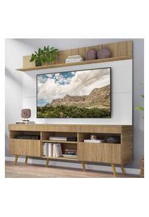"""Rack Com Painel Tv 65"""" Madri Multimóveis Rustic/Branco Com Prateleira E Pés Retrô Natural"""