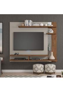 """Painel Para Tv Até 50"""" Com Espelho Bali Siena Móveis Off White/Savana"""