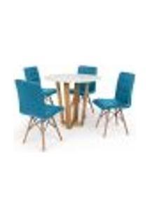 Conjunto Mesa De Jantar Lara 90Cm Branca Com 4 Cadeiras Eiffel Gomos - Turquesa