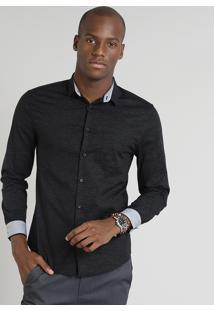Camisa Masculina Slim Com Bolso Manga Longa Preta