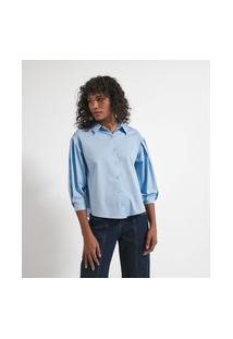 Camisa Manga Longa Bufante Com Pregas Em Tricoline | Marfinno | Azul | G