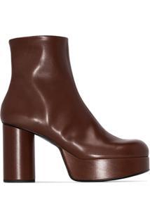 Jil Sander Ankle Boot Com Plataforma - Marrom