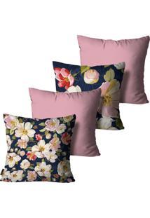 Kit Com 4 Capas Para Almofadas Premium Cetim Mdecore Floral Colorida 45X45Cm