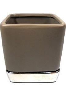 Vaso Quadrado 10Cm De Cerâmica Marrom Com Prato- Enjoy