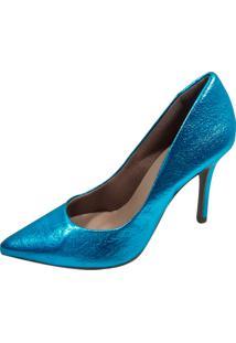 Scarpin Liso Vendrata Clássico Perfect Azul Metalizado