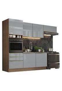 Cozinha Completa Madesa Lux Com Armário E Balcão 6 Portas 3 Gavetas Rustic/Cinza Rustic