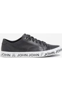 Tênis John John Heaven Couro Preto Feminino (Preto, 40)