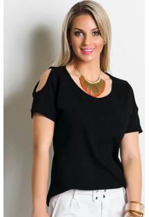 Blusa Feminina Detalhe Com Recorte Preta