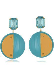 Brinco Le Diamond Acrílico Geométrico Base Cristal Azul - Tricae