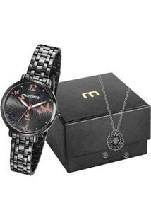 Kit Relógio Feminino Mondaine Analógico - 53826Lpmvpe3K2 Com Acessórios - Feminino-Preto