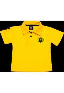 Camisa Polo Otto Escudo Amarela Com Bordado Preto