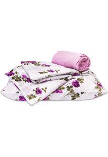 Jogo De Cama Standard Flores Pink Solteiro 160 Fios 03 Peças Dourados Enxovais