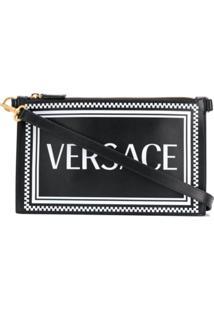Versace Clutch 90S Vintage De Couro Com Logo - Preto