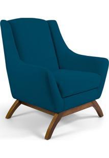 Poltrona Decorativa Sala De Estar Base De Madeira Naomi Veludo Azul Cobalto - Gran Belo