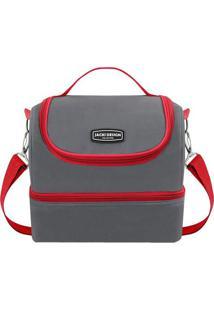 Bolsa Térmica Com 2 Compartimentos - Cinza & Vermelha