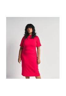Vestido De Malha Canelada Tubular Midi Com Gola Alta Curve E Plus Size Vermelho
