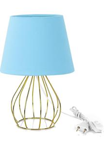 Abajur Cebola Dome Azul Bebe Com Aramado Dourado - Azul - Dafiti
