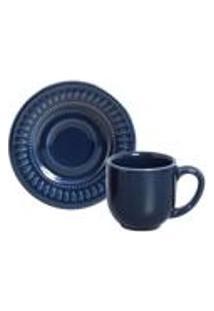 Conjunto C/ 6 Xicaras De Cafe C/ Pires Daisy Deep Blue 72 Ml