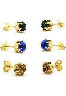 Conjunto 3 Brincos Horus Import Ponto De Luz Banhado Ouro Amarelo 18K - Kit10566 - Dourado
