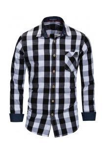 Camisa Masculina Xadrez Bolso Frontal Manga Longa - Preto