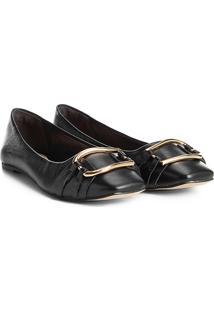 Sapatilha Couro Shoestock Argola Feminina - Feminino-Preto