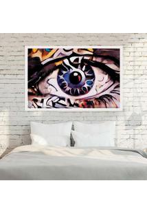 Quadro Love Decor Com Moldura Olhos Azuis Abstrato Branco - Grande