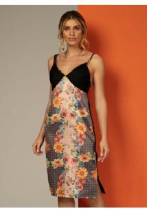 Vestido Midi Floral Laranja Com Renda