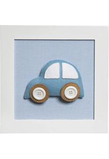 Quadro Decorativo Carro Quarto Bebê Infantil Menino Potinho De Mel Azul