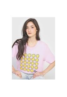 Camiseta Hering Smiley Rosa