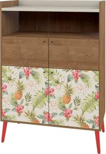 Cristaleira Style 4 Portas Pé Palito - Lider Design Buriti/Floral