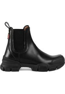 Gucci Ankle Boot Com Patch De Logo - Preto