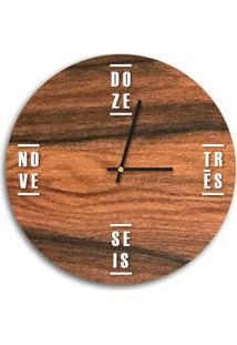 Relógio De Parede Decorativo Premium Amadeirado Com Palavras Em Relevo Branco Médio