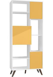 Estante Com 3 Portas E 3 Prateleiras Retrô Rt3039 - Movelbento - Branco / Amarelo