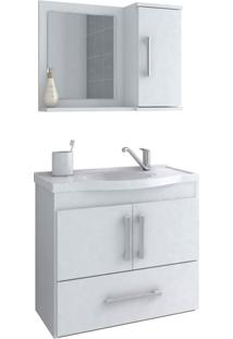 Conjunto Armário Banheiro Com Pia E Espelheira Atenas Mgm Móveis Branco
