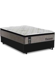 Cama Box Casal Preta + Colchão De Molas Ensacadas - Sealy - Platinum - 138X188X67Cm