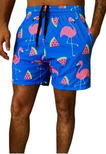 Shorts J10 Praia Microfibra Com Elastano Estampa Flamingo Verão Ref.1033
