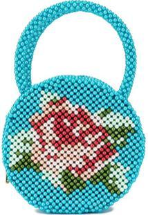 Shrimps Clutch Rose Com Aplicação De Pérolas - Azul
