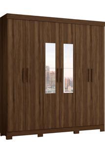 Guarda Roupa De Casal Amarok 6 Portas C/ Espelhos Cedro Albatroz - Tricae