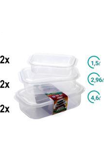Conjunto Pote Plástico Retangular 3 Tamanhos P M G 6 Peças - Tricae