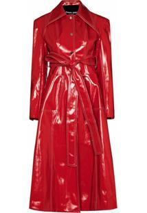 Angel Chen Trench Coat Com Amarração Na Cintura - Vermelho