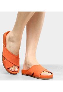 Rasteira Shoestock Cruzada - Feminino-Laranja