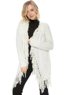 Maxi Cardigan Mob Tricot Franjas Off-White