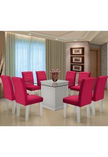 Conjunto De Mesa Para Sala De Jantar C/ Tampo De Vidro E 8 Cadeiras Vegas - Dobuê - Branco / Vinho