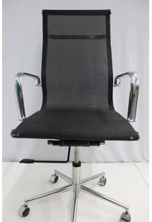 Cadeira Office Outlet Telinha Alta Preta Cromada - 5 - Sun House