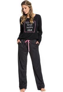 Pijama Inspirate De Inverno Risca De Giz Preto