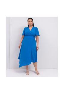 Vestido Midi Com Decote Transpassado E Barra Assimétrica Curve & Plus Size | Ashua Curve E Plus Size | Azul | Gg