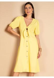 Vestido Amarelo Com Abertura No Decote E Botões
