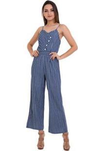 Macacão Jeans Listras Alças Feminino - Feminino-Azul