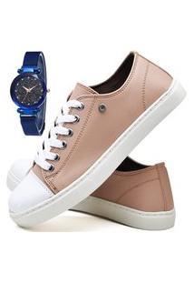 Kit Tênis Sapatênis Casual Fashion Com Relógio Sky Feminino Dubuy R305El Rosa